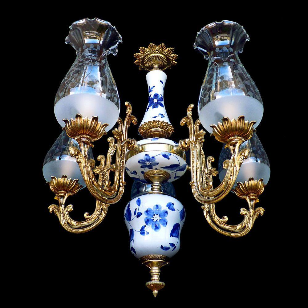 Antique1930s art deco gold bronze blue delft chandelier 5 etched antique1930s art deco gold bronze blue delft chandelier 5 etched glass shades arubaitofo Images