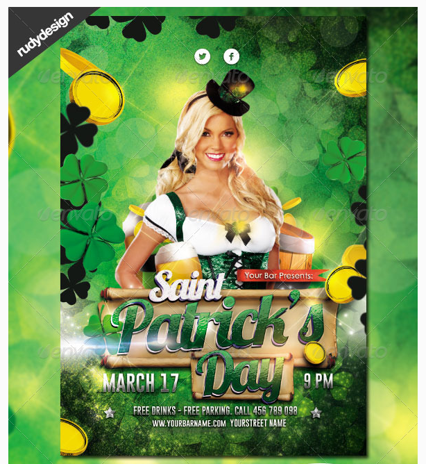 Saint Patrick\'s Day Flyer Design - Party Flyer Templates For Clubs ...