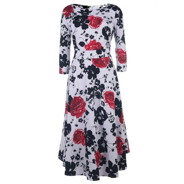 Vintage Style 1/2 Sleeve Round Neck Floral Print Women's Dress — 18.06 € Size: XL Color: RED