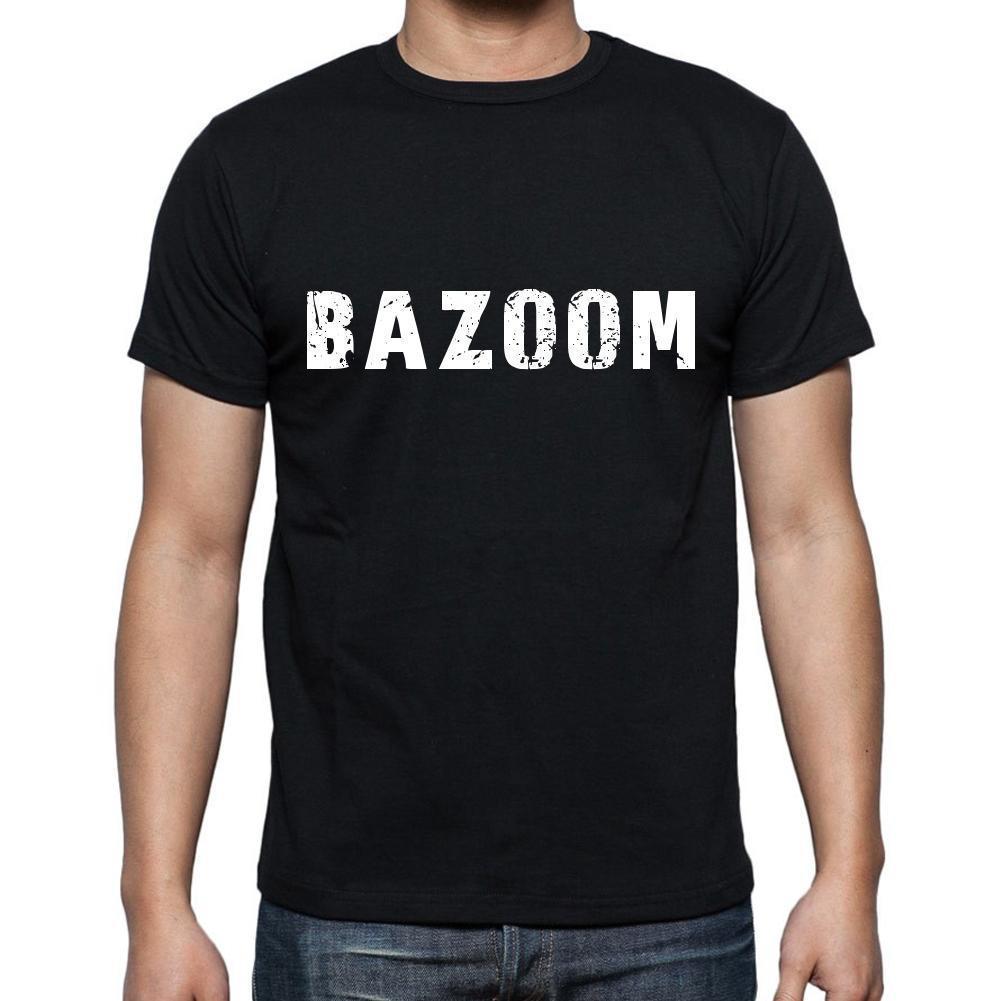 bazoom ,Men's Short Sleeve Rounded Neck T-shirt 6 letters, Black , words