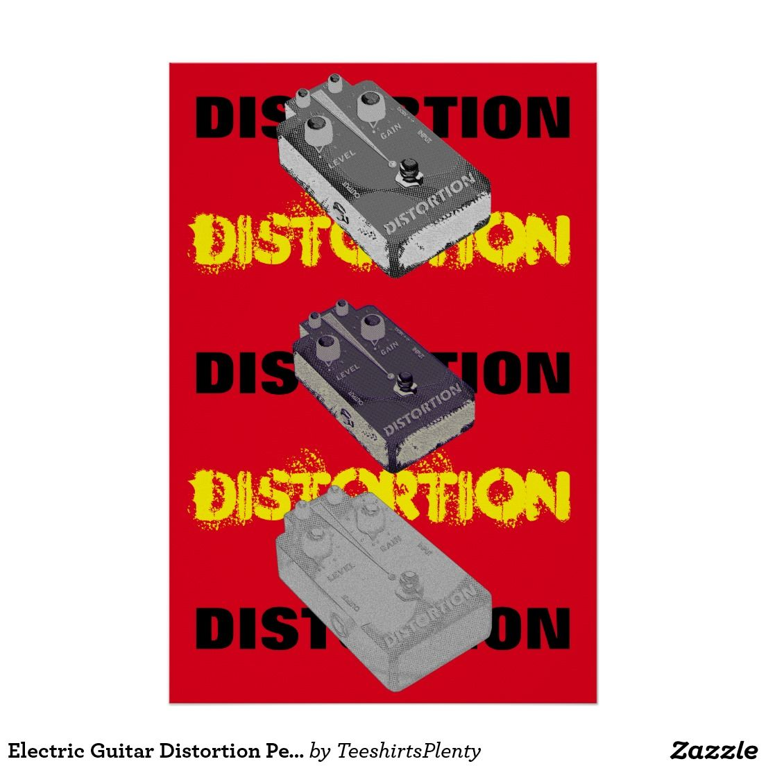 Electric Guitar Distortion Pedal Triple On Red Poster
