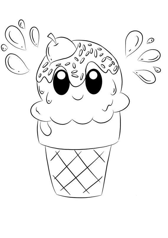 Ice cream cone DIGITAL COLORING PAGE, Printable | Carterie ...