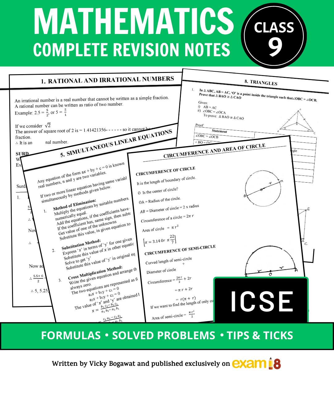 Exam18 Icse Class 9 Maths Complete Revision Notes Strengthen Concepts Learn Formulas Practice Q A Exam18 Math Books Math Maths Exam [ 1272 x 1082 Pixel ]