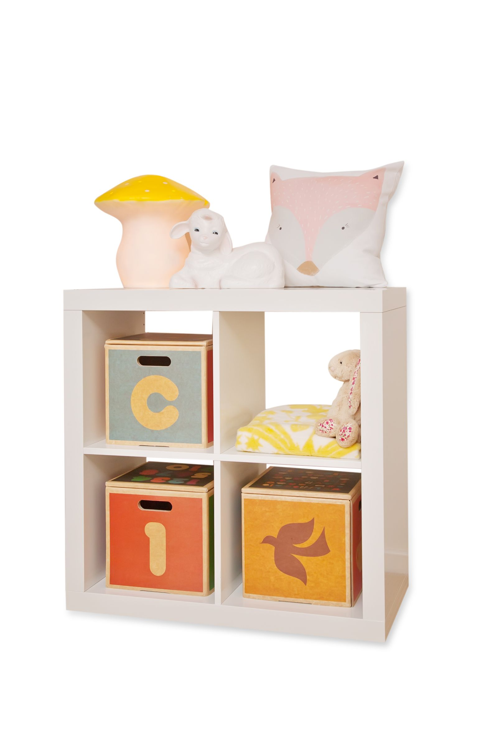 Green Lullaby #cardboard #storage #boxes #cubes in IKEA Expedit bookshelf with Pink Fox cushion from @Habitots and toadstool and lamb #Heico l&s from ...  sc 1 st  Pinterest & Green Lullaby #cardboard #storage #boxes #cubes in IKEA Expedit ...