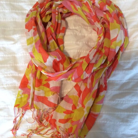 J. Crew cotton scarf Summer weight, sheer when held to the light. Tiny tassels on ends, not infinity. Cute but the colors don't work on me. J. Crew Accessories Scarves & Wraps