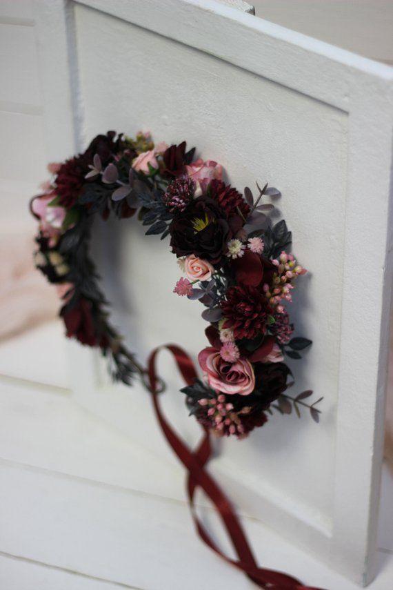 Burgund erröten rosa Blume Krone Mama und mich Maroon Kopfschmuck Baby Krone Braut Haarteil Burgund Blumenmädchen Brautjungfer Haarblumen