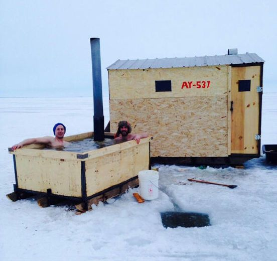 Ice fishing hot tub fishing photos pinterest for Ice fishing shelters for sale