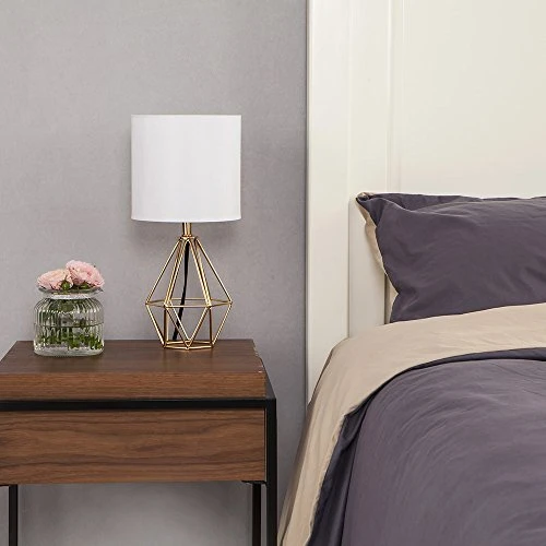 Gold Modern Hollow Out Base Living Room Bedroom Small Table Lamp