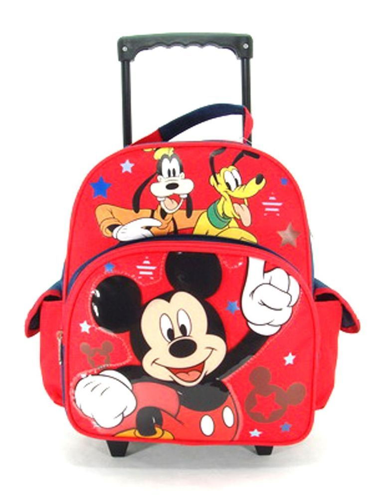 Disney Mickey Mouse Goofy Luggage Small Toddler Rolling Backpack ...