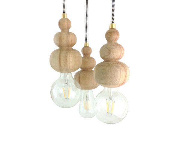 dROPS Wood Pendant Light Hanging Handmade Lamp Wooden Minimal Chandelier Lighting Geometric Modern Design Edison
