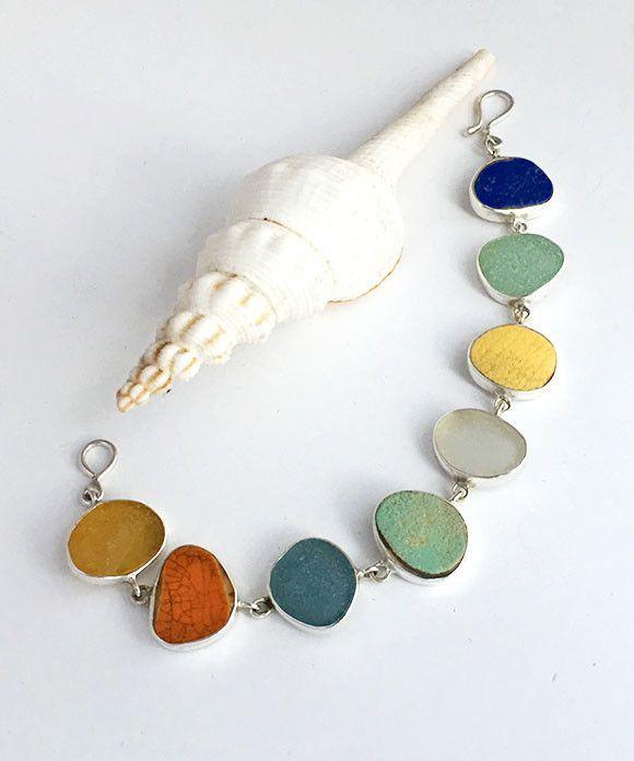 Light Earth Tone Sea Pottery and Sea Glass Bracelet
