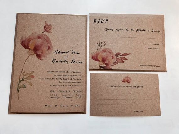 Budget saving  floral invitation  rustic wedding invitation  peony wedding invitation  boho wed