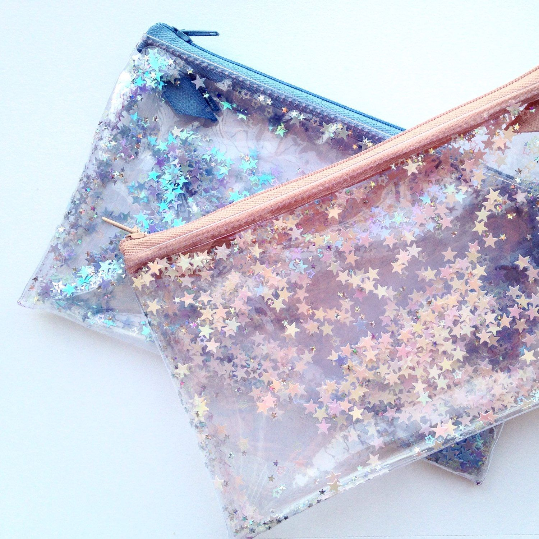 Pink star / Pencil case Transparent wallet Clear bag Purse