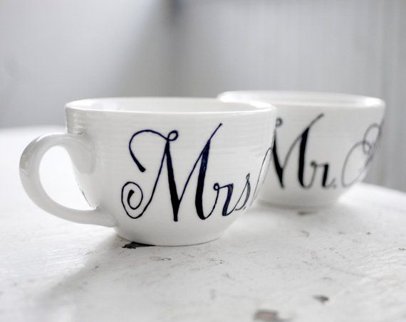 Personalized Mr And Mrs Tea Cup Wedding Gift By Wandersketch 32 00 Cups