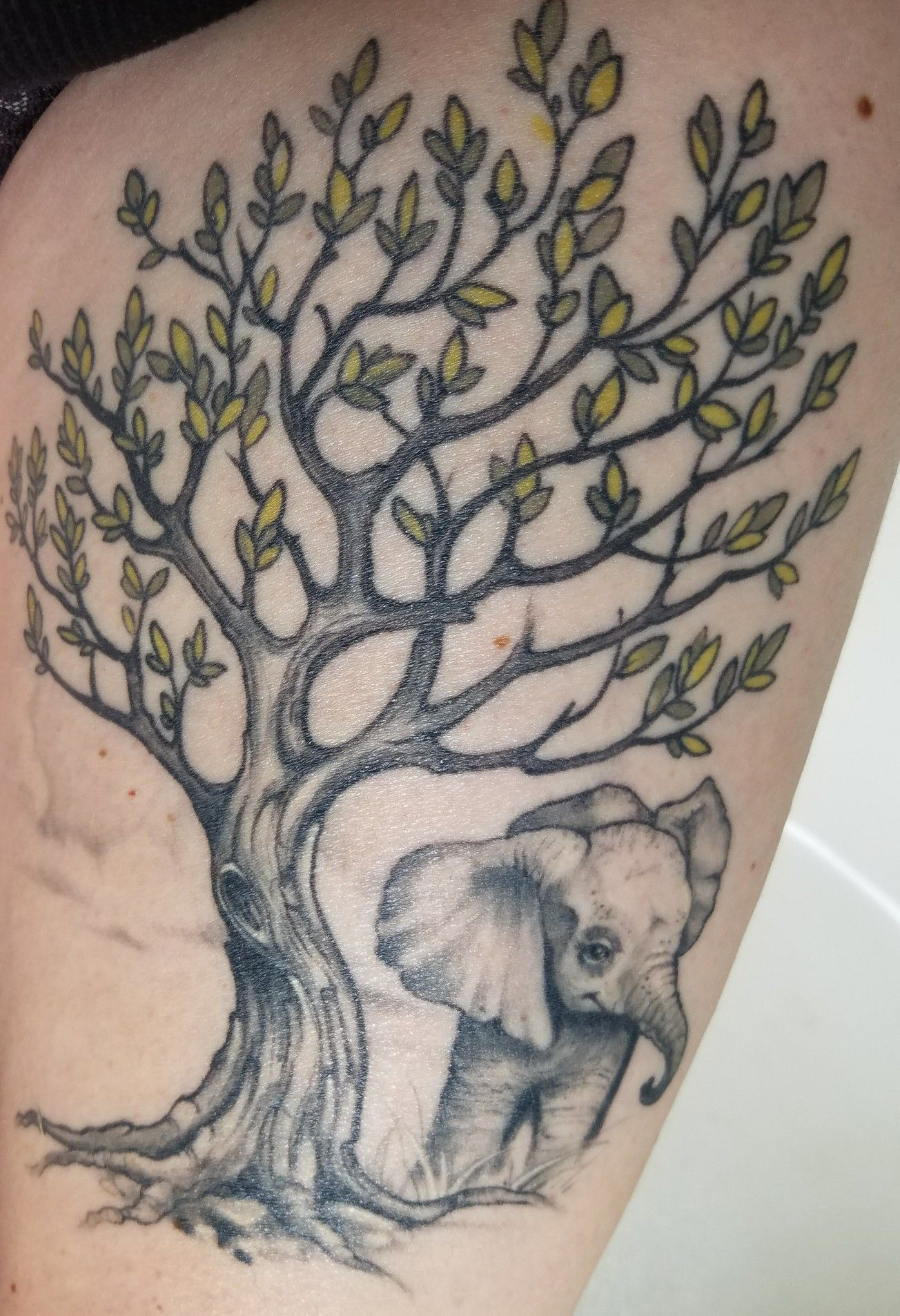 elephant tree of life thigh tattoo, mostly black and gray ...