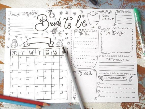 Bride To Be Wedding Planner Journal Wedding Ideas Agenda Diary Diy