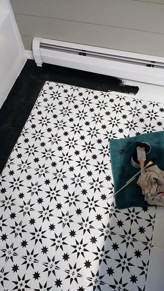 Jazz Up An Old Bathroom Floor Using Stencils | Ceramic tile ...