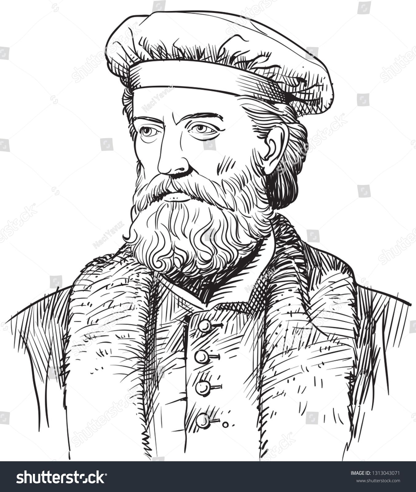 Marco Polo 1254 1324 Portrait In Line Art Illustration He Was