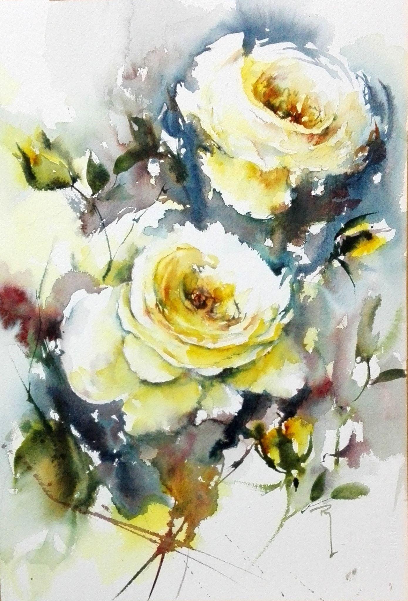 Roses blanches aquarelle roses jean claude papeix for Aquarelle fleurs