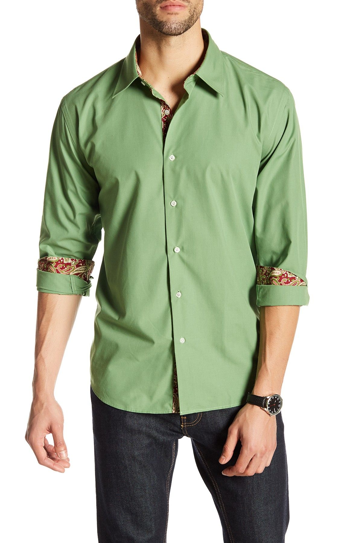 67c8feb47812d4 Jordan Jasper Roger Long Sleeve Contrast Interior Trim Fit Shirt ...