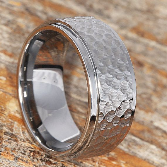 Hammered Tungsten Ring Hammered Band Hammered Silver Ring Etsy Hammered Wedding Bands Hammered Tungsten Ring Rings For Men
