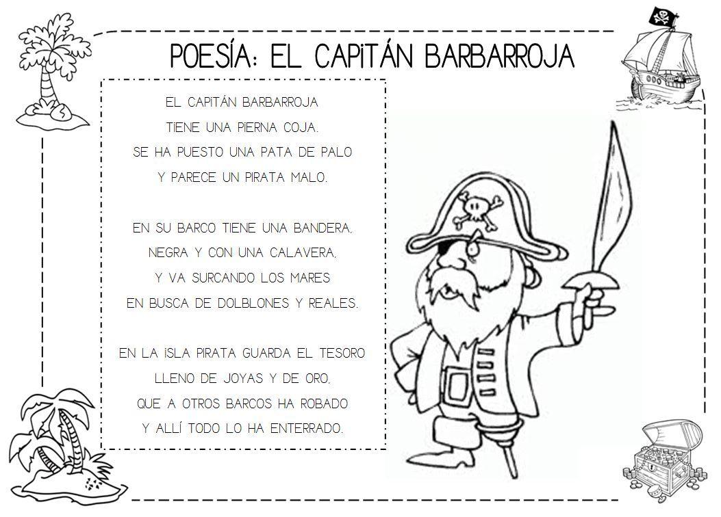 Poesía: El capitán Barbarroja #piratas #poesia #imprimible ...