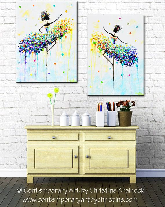 GICLEE PRINT of Abstract Dancer Painting Large Art Wall Decor CANVAS ...