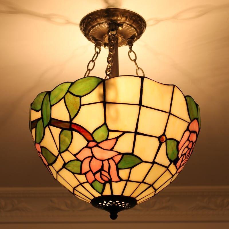 Joyful Roses Tiffany Flush Mount Lamp