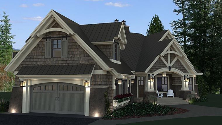 Tudor Style House Plan 42675 With 3 Bed 3 Bath 2 Car Garage Craftsman House Plans Craftsman House Craftsman House Plan