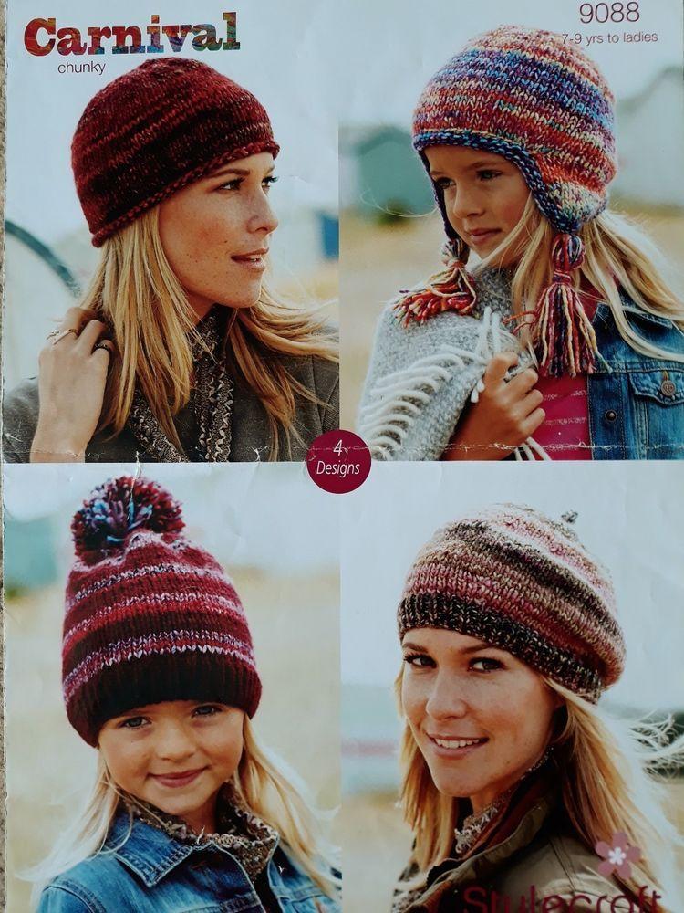 Knitting pattern stylecraft 9088 chunky hats beret