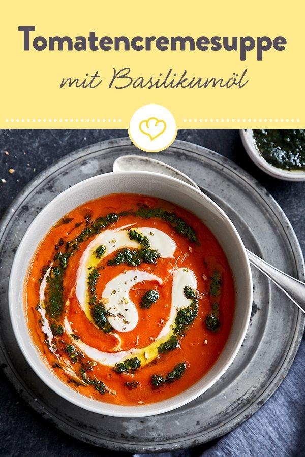 Tomatencremesuppe mit Basilikumöl selber machen