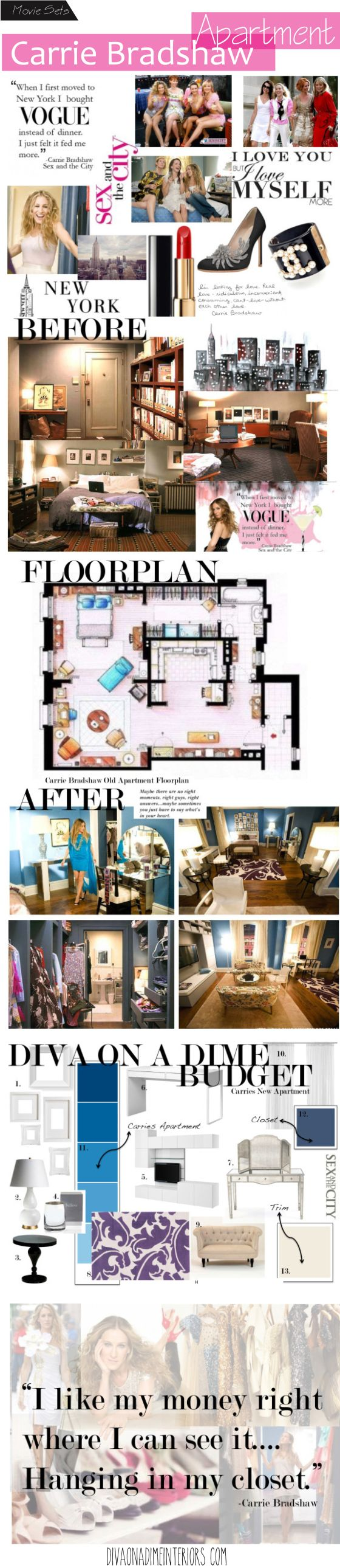 carrie bradshaw apartment awesome interior design blog reminds me of alicia pinterest. Black Bedroom Furniture Sets. Home Design Ideas