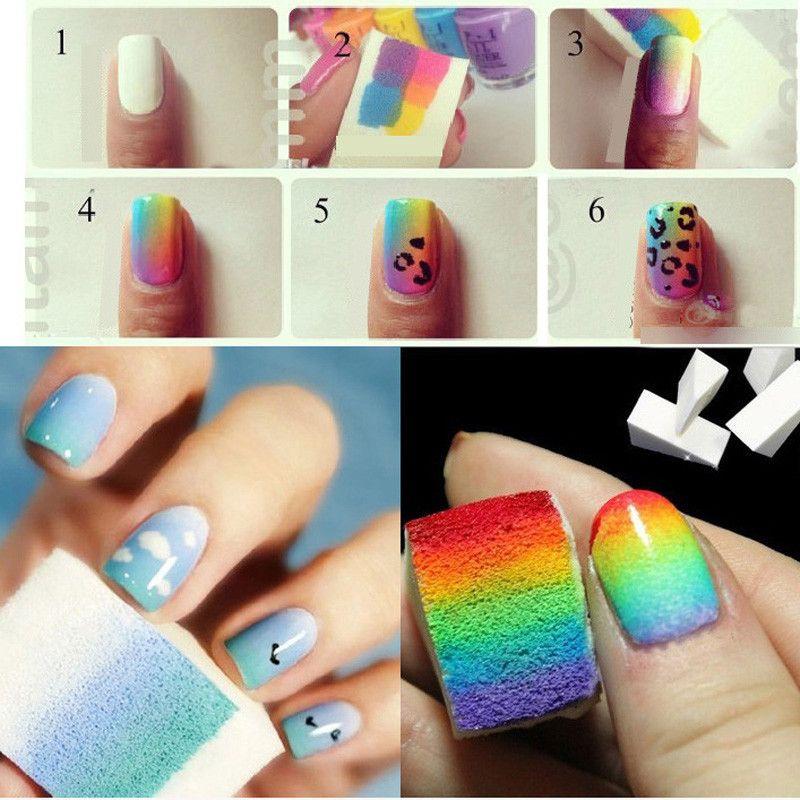 20pcs Nail Art Gradient Color Stamping Sponge Set Gel
