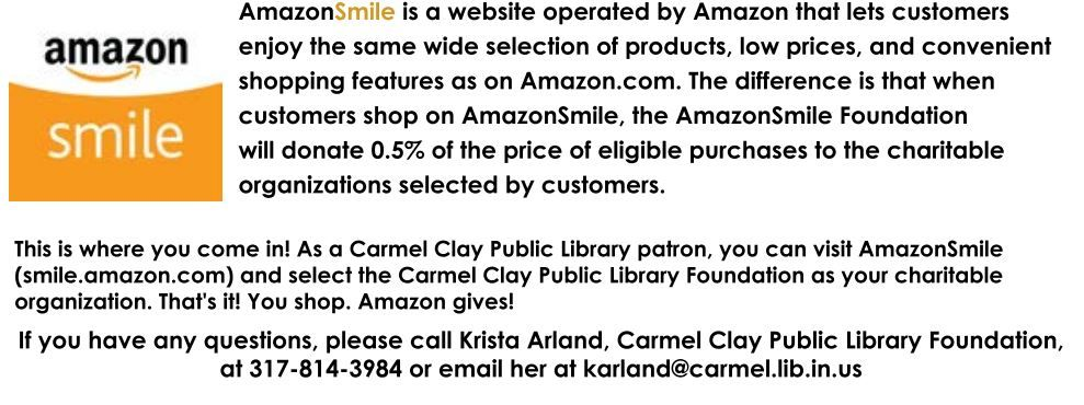 Shop With Amazonsmile And Select The Carmel Clay Public Library