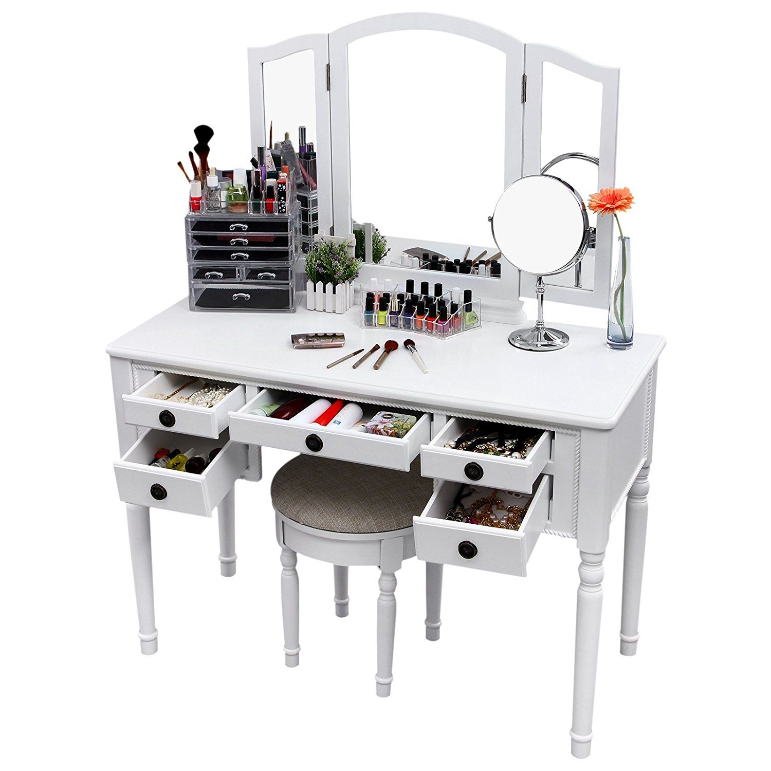 Songmics vanity set trifolding mirror makeup dressing table