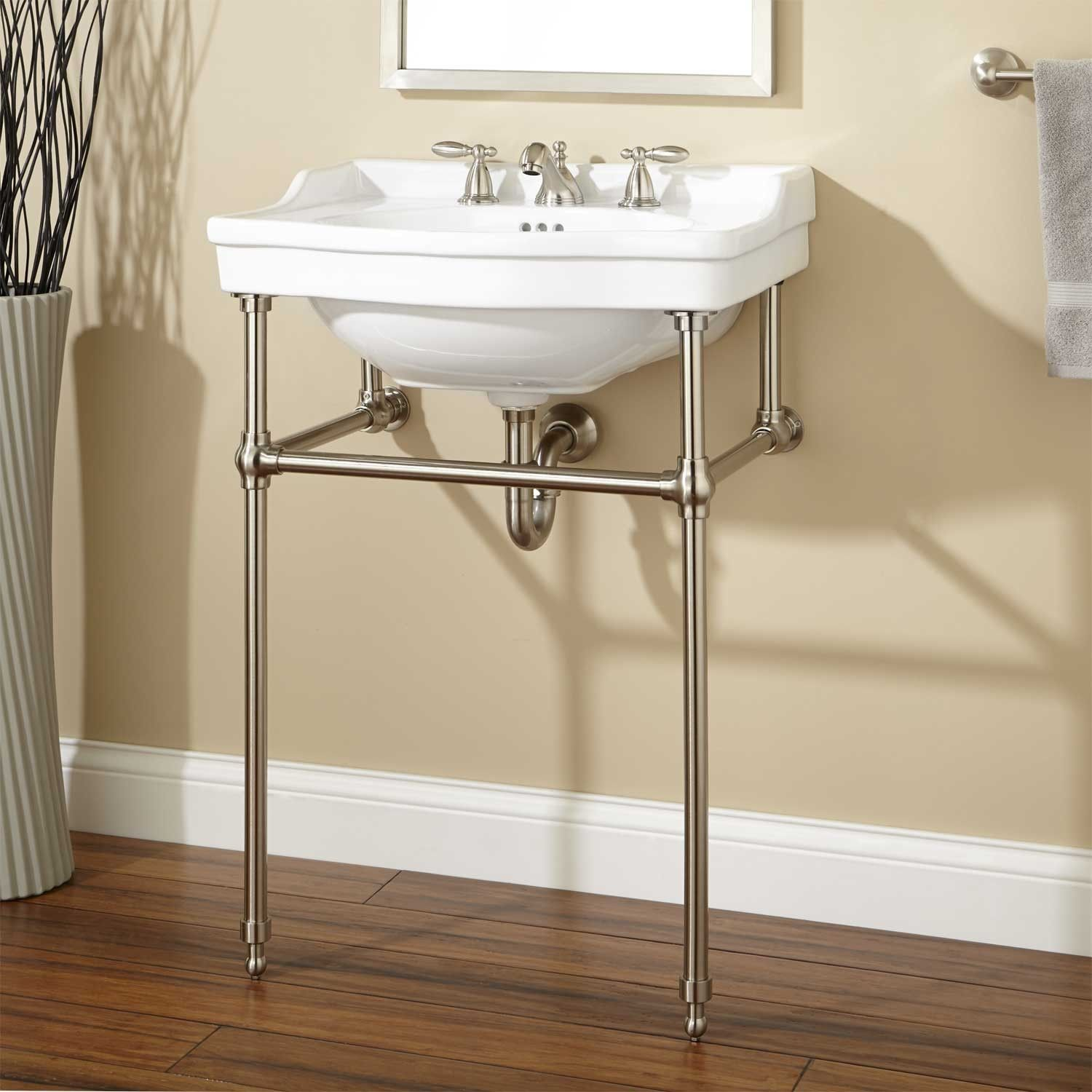 console sink with brass stand