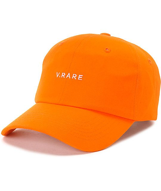 The Rare orange dad hat from Empyre features an embroidered text graphic  that reads