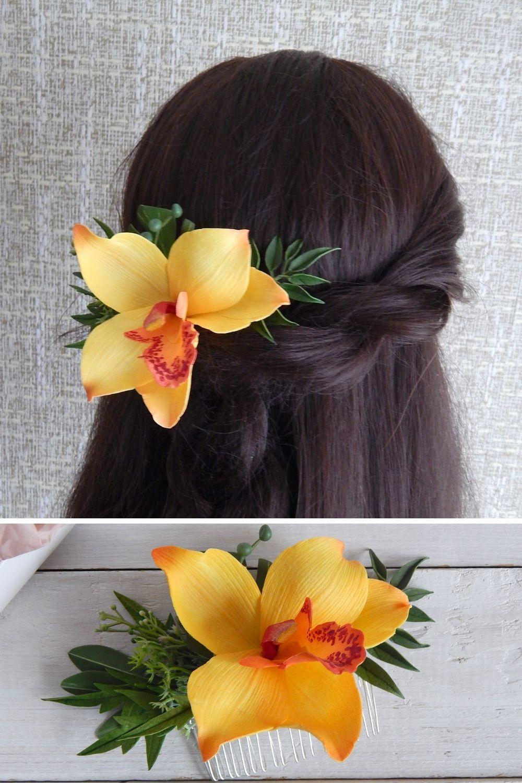 Tropical Floral Headpiece Hawaii Yellow Orchid Flower Hair Etsy In 2020 Flowers In Hair Hawaiian Flower Hair Hawaii Hair