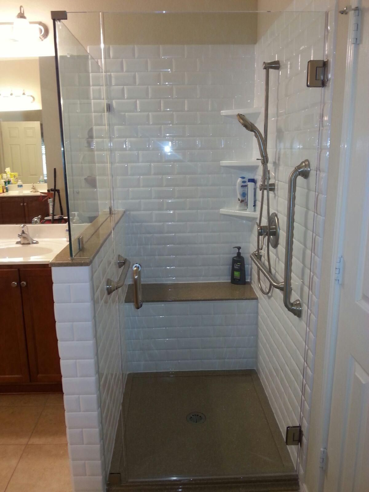 Another Underused Tub Remade Into A Spacious Walk In Shower! This Is A  Classic Subway Tiled Shower Complete With Bench, Grab Bars, U0026 Hand Shower.