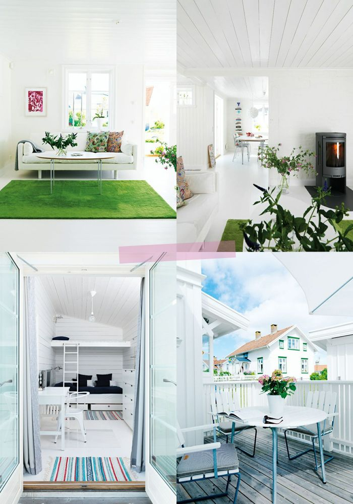Love The White Living Room With Green Rug Beautiful Beach Houses Interior Design Courses