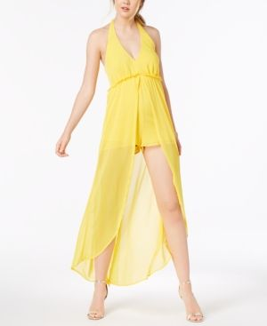 723a4e232 Material Girl Juniors' Halter Romper with Sheer Overlay Maxi Skirt, Created  for Macy's - Yellow XXS