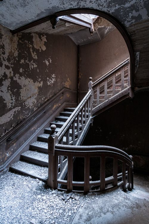 Staircase of The Kirkbride Building at Worcester State Hospital, constructed between 1873 and 1877...