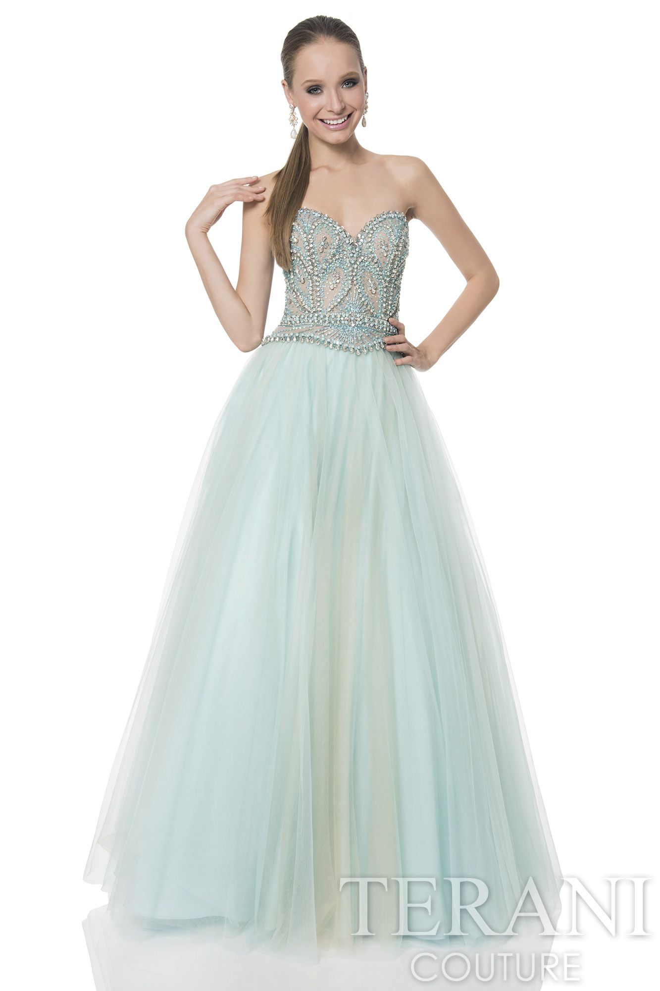 Sweetheart prom gown with fitted, sequin embellished bodice. The ...