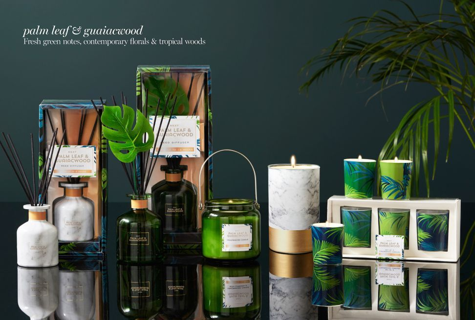 Buy Palm Leaf And Guaicwood Pillar Candle From The Next UK Online Shop