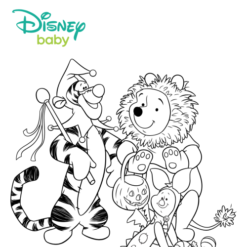 Enjoy The Spirit Of Halloween With Your Toddler Here Are Two Coloring Pages Featuring Winnie Pooh Tigger And Piglet In Costume To Help