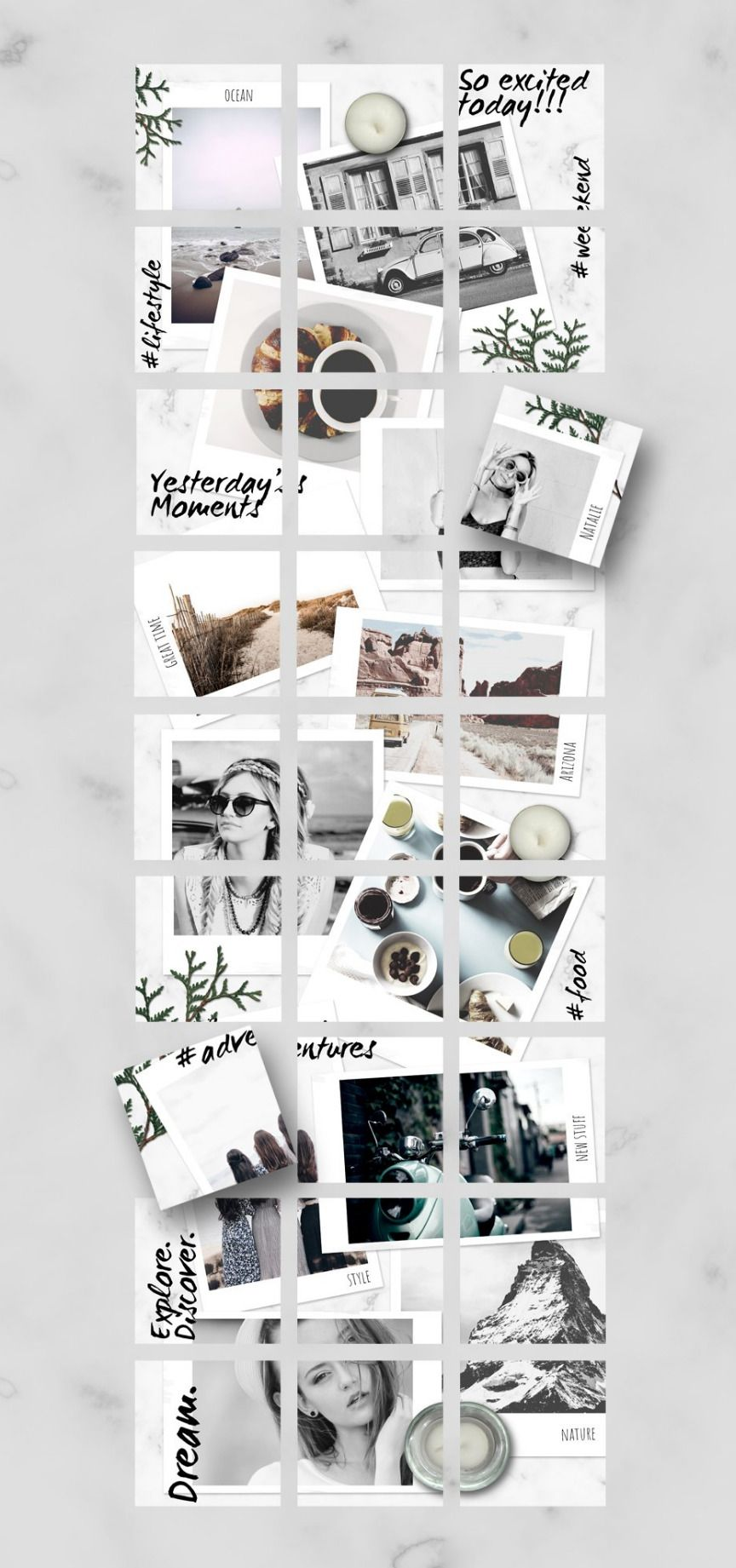 Instagram PUZZLE templateInstantPic Instagram grid
