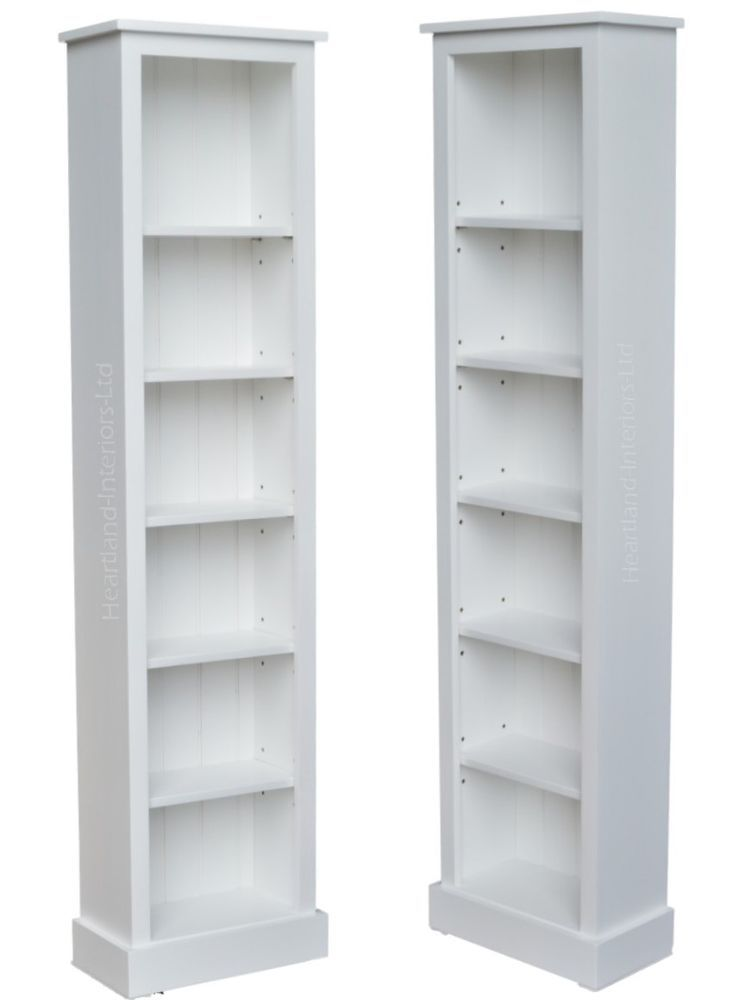 Details About White Painted Narrow Bookcase Solid Wood 6ft Tall