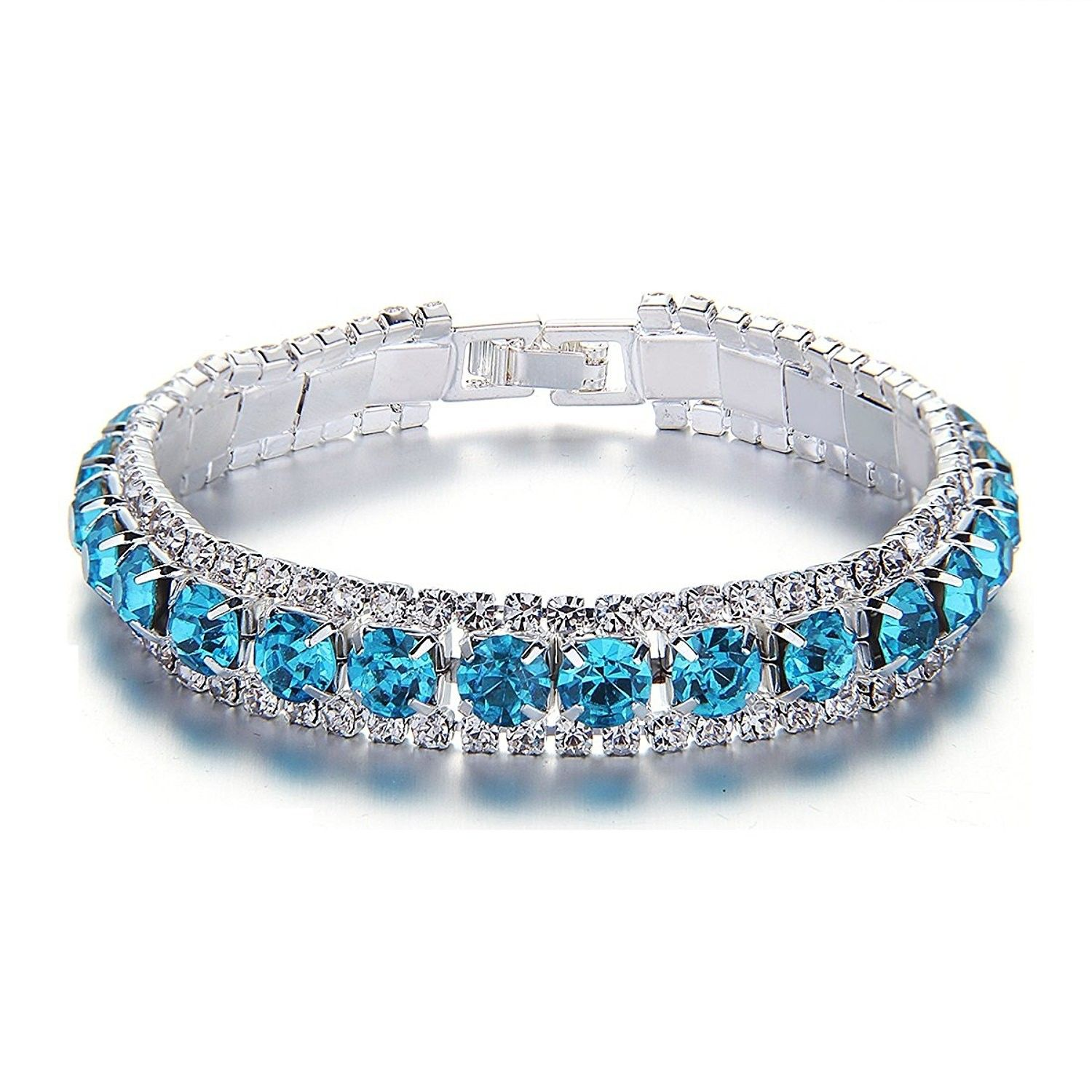 Blue rhinestone bangle bracelets silver crystal link wedding