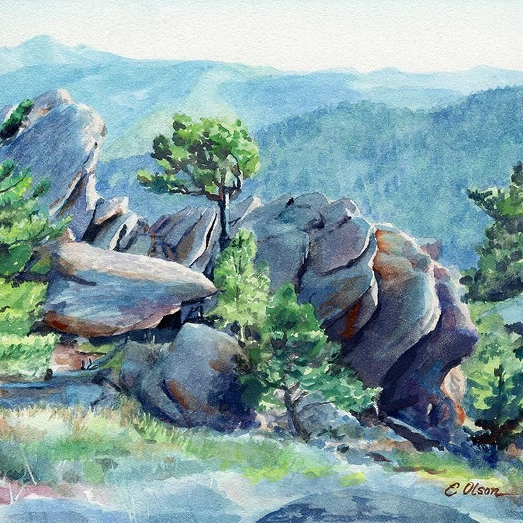 Mount Sanitas Original Watercolor Painting Watercolor Landscape