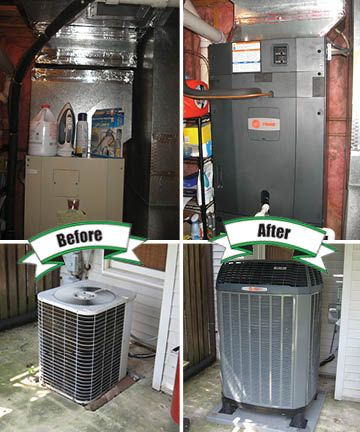 An Old Bryant System Replaced With A New Trane Xl18i Heat Pump Outside And Tam7 Variable Sd Indoor Air Handler Holtzopleheatingandairconditioning